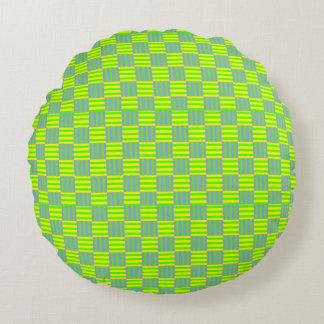 Geometrisches Retro Muster Rundes Kissen