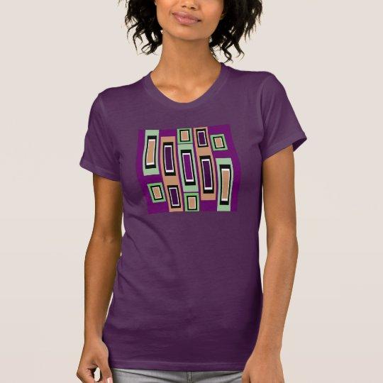 Geometrisches Shirt-Grünes/lila/TAN Mode-Muster T-Shirt