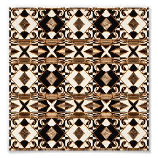 Geometrisches Stammes- Art-Muster in Brown-Farben Photo Drucke