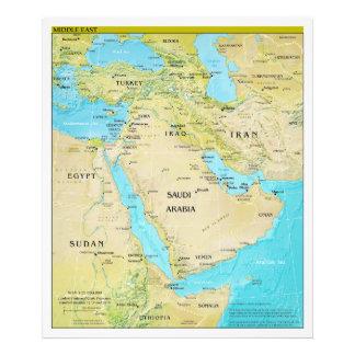 Geopolitische regionale Karte des Mittlere Ostens Fotodrucke