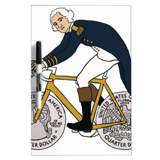 George Washington auf Fahrrad mit Viertelrädern Trockenlöschtafel