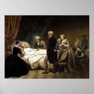 George Washington auf seinem Sterbebett Poster