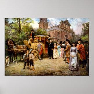 George Washington, der in Christus-Kirche ankommt Poster