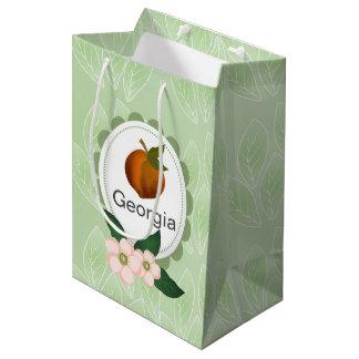 Georgia-Pfirsichfrucht-Kunstentwurf Mittlere Geschenktüte