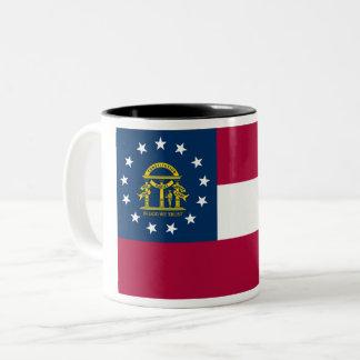 Georgia-Staats-Flagge Zwei-Ton Kaffee-Tasse Zweifarbige Tasse
