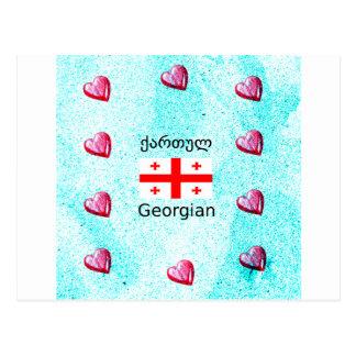 Georgische Sprache und Flaggen-Entwurf Postkarte