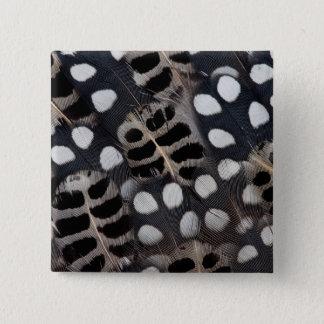 Gepunktete Schwarzweiss-Federn Quadratischer Button 5,1 Cm