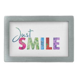 Gerade Lächeln-glückliches Zitat 01 Rechteckige Gürtelschnalle