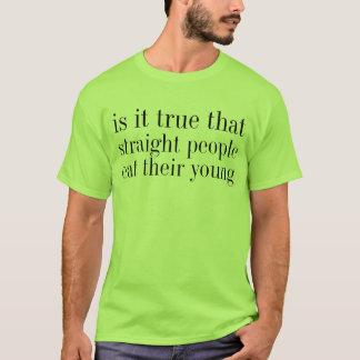 gerade Leute essen ihre Junge T-Shirt