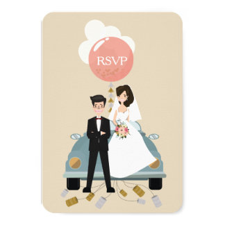 Gerade reagieren verheiratete Autohochzeit Karte 8,9 X 12,7 Cm Einladungskarte