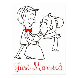 Gerade verheiratete Braut-und Postkarte