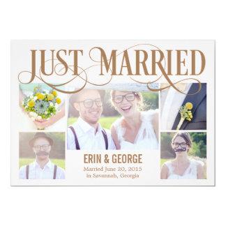 Gerade verheiratete Hochzeits-Mitteilung - Rosa 12,7 X 17,8 Cm Einladungskarte