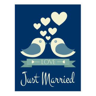 Gerade verheiratete Lovebirds-blaue Postkarte