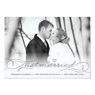 Gerade verheiratete schwarze 12,7 x 17,8 cm einladungskarte