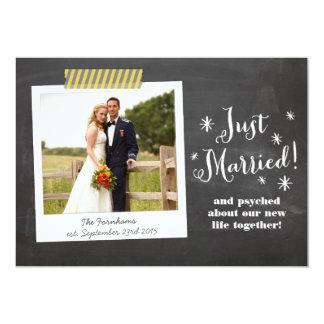 Gerade verheiratete Tafel-Hochzeits-Mitteilung 12,7 X 17,8 Cm Einladungskarte