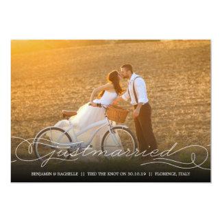 Gerade verheiratete weiße 12,7 x 17,8 cm einladungskarte
