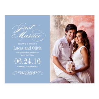 Gerade verheiratetes graues Blau der Postkarte