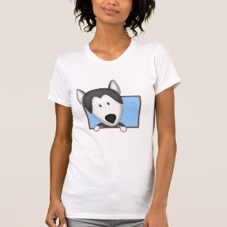 Gerahmte Cartoon-sibirischer Schlittenhund-Damen Tshirts