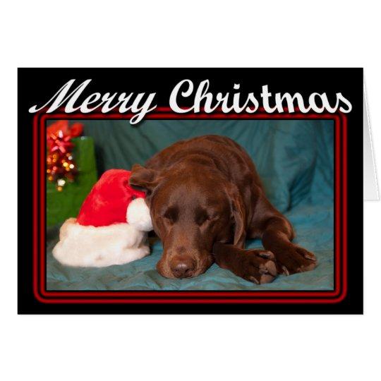 Gerahmter Schlafenschokoladen-Labrador mit Grußkarte