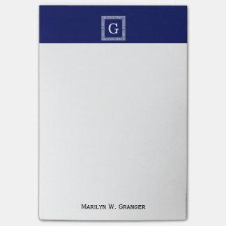 Gerahmtes Monogramm des Marine-Blau-weißes Post-it Haftnotiz