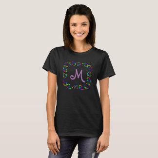 Gerahmtes Monogramm des Regenbogens T-Shirt