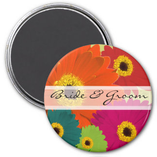 Gerber Gänseblümchen-Hochzeits-Magneten Runder Magnet 7,6 Cm