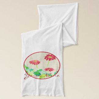 Gerbera-Aquarell, das rotes grünes Washi Papier Schal