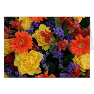 Gerbera-Rosen-Blumenstrauß Karte