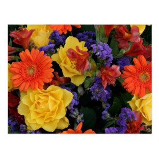 Gerbera-Rosen-Blumenstrauß Postkarte