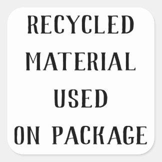 Gerecycelte materielle Repurpose Quadratischer Aufkleber