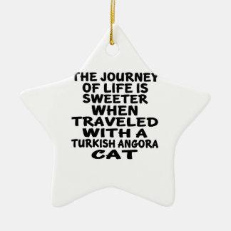 Gereist mit türkischer Angora-Katze Keramik Stern-Ornament