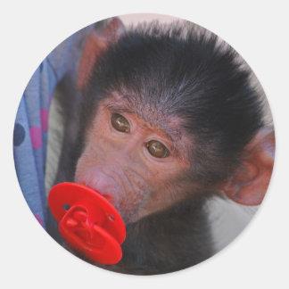 Geretteter Baby-Affe mit einer Attrappe Runder Aufkleber