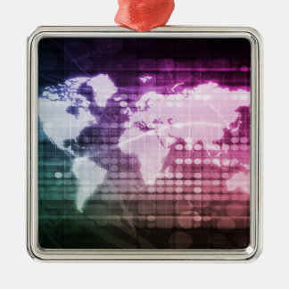 Gesamt-Netzwerk Verbindung und integriertes System Quadratisches Silberfarbenes Ornament