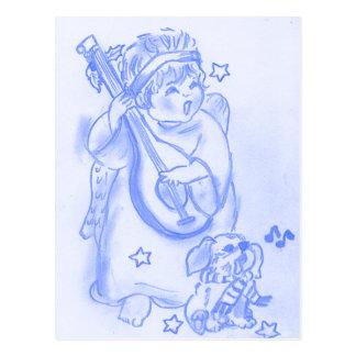 Gesang-Weihnachtsengel mit Welpen Postkarte