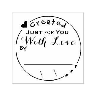 Geschaffen mit Liebe-Grafik-Unterzeichnung/Datum Permastempel