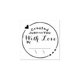 Geschaffen mit Liebe-Grafik-Unterzeichnung mit Gummistempel