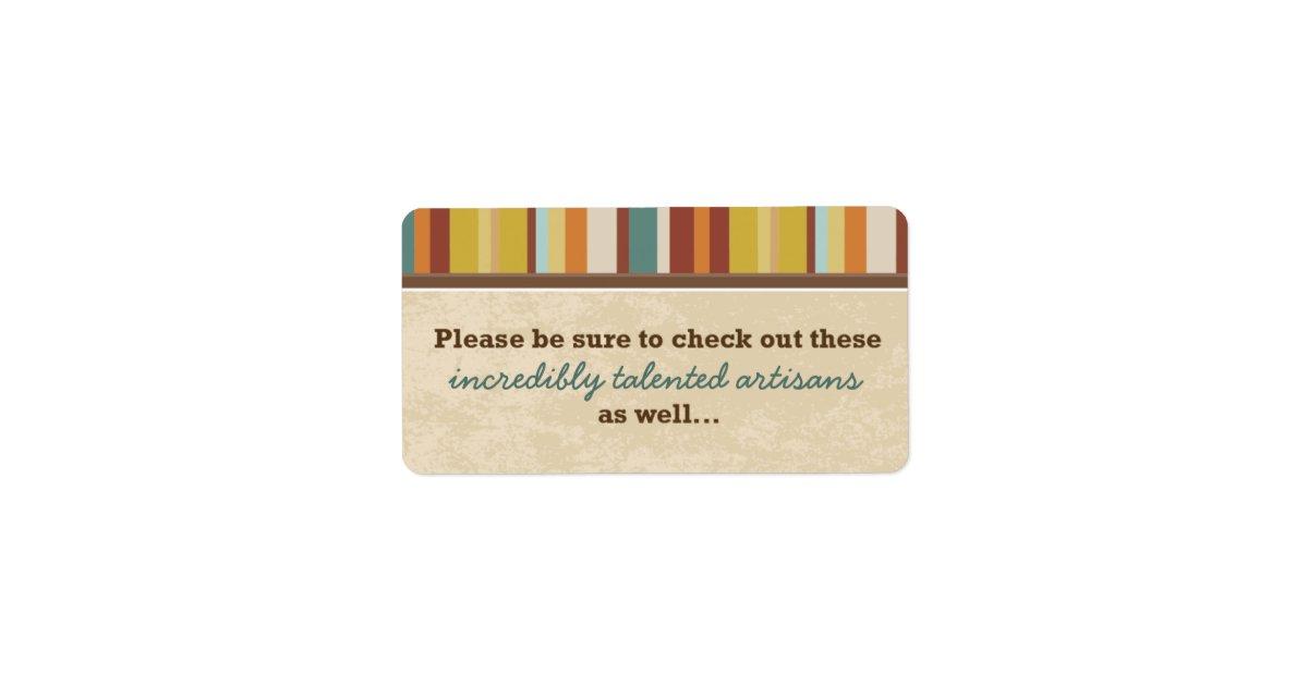 Geschäfts-Karten-Beutel-Siegel (für Ereignisse) Adressetikett   Zazzle
