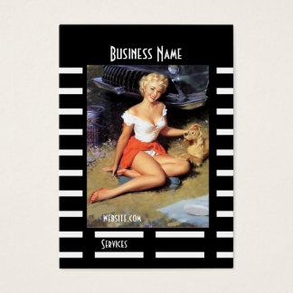 Geschäfts-Karten-Schwarz-Button herauf Mädchen Visitenkarte