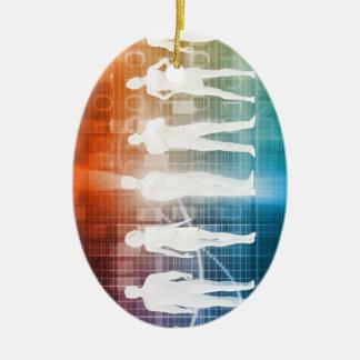 Geschäfts-Leute stehend in einer Reihe überzeugt Ovales Keramik Ornament
