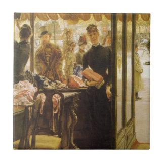 Geschäfts-Mädchen durch Tissot, Vintage Fliese