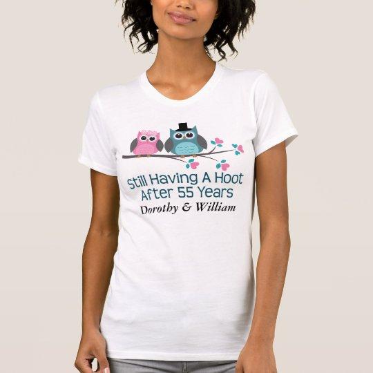 Geschenk für 55. Hochzeits-Jahrestags-Eulen-T - T-Shirt