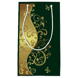 Geschenk-Tasche--GoldWirbel u. dunkelgrünes Kleine Geschenktüte