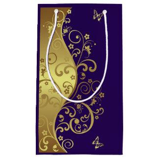 Geschenk-Tasche--GoldWirbel u. dunkles Lila Kleine Geschenktüte
