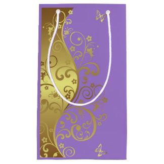 Geschenk-Tasche--GoldWirbel u. -lavendel Kleine Geschenktüte