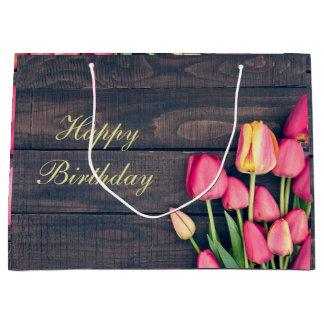 Geschenk-Tasche--Rosa Tulpen u. Holz Große Geschenktüte