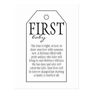 Geschenk-Umbau für Wein-Flasche - erstes Baby Postkarte