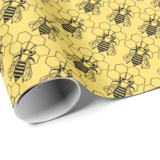 Geschenk-Verpackung - Biene auf Bienenwabe Geschenkpapier