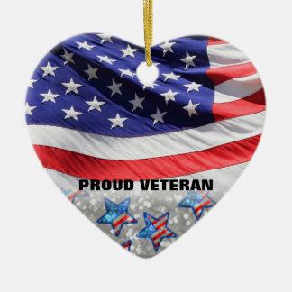 Geschenk Veteranen-Soldat-Stolz USA-Flaggen-| für Keramik Herz-Ornament