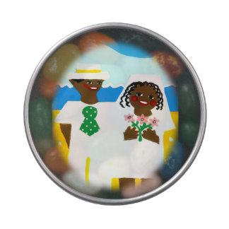 Geschenk von der Afroamerikanerbraut und Vorratsdose