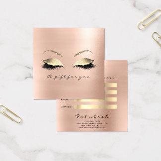 Geschenk-Zertifikat-Rosen-Rosa-Gold peitscht Quadratische Visitenkarte